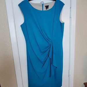 Teal Sleeveless Cocktail Dress w/Ruched Drape